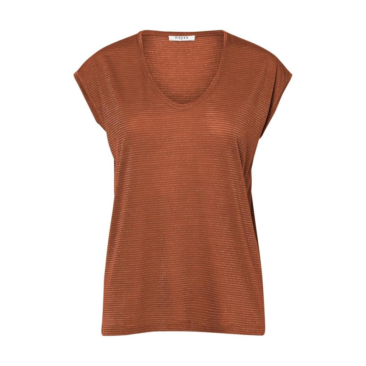 pcbillo tee lurex stripes noos 17078572 pieces t-shirt mocha bisque/gold lurex