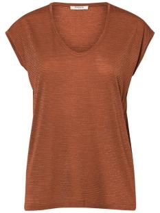 Pieces T-shirt PCBILLO TEE LUREX STRIPES NOOS 17078572 Mocha Bisque/GOLD LUREX