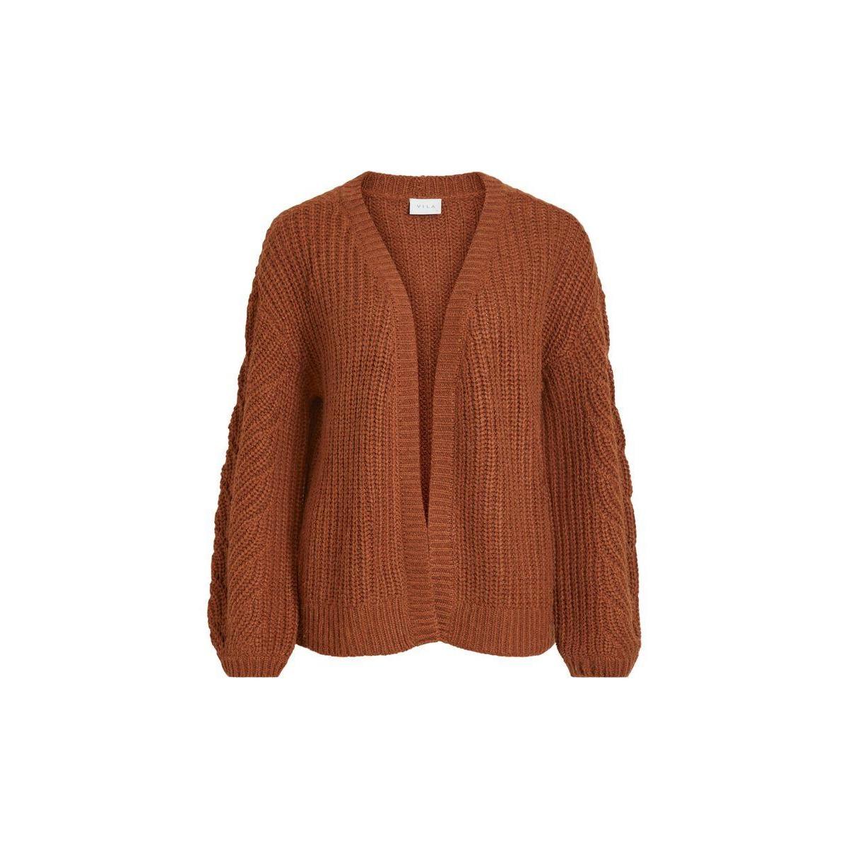 visee knit v-neck l/s cardigan 14058255 vila vest tortoise shell