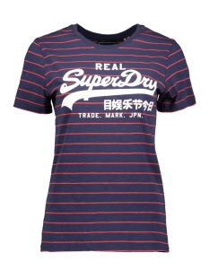Superdry T-shirt VINTAGE LOGO STRIPE W1010025A ATLANTIC NAVY SLUB STRIPE