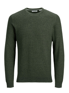 Jack & Jones Trui JJEAARON KNIT CREW NECK NOOS 12173993 Forrest Night/W BLACK