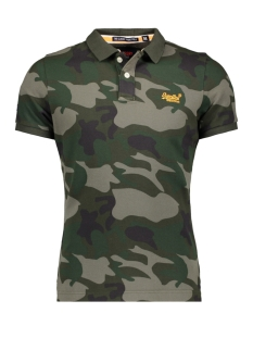 Superdry Polo M11002RR CLASSIC S/S PIQUE POLO GREEN TREE CAMO  ZW5