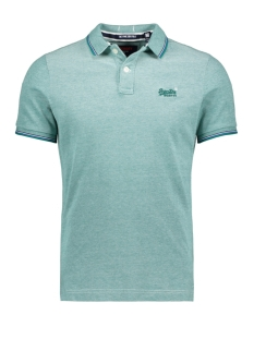 clasic poolsde s s pique polo m11000oq superdry polo green/white