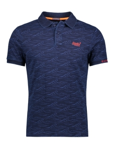 Superdry Polo CITY S/S AOP JERSEY M11019TQDS DARK INDIGO WAVE