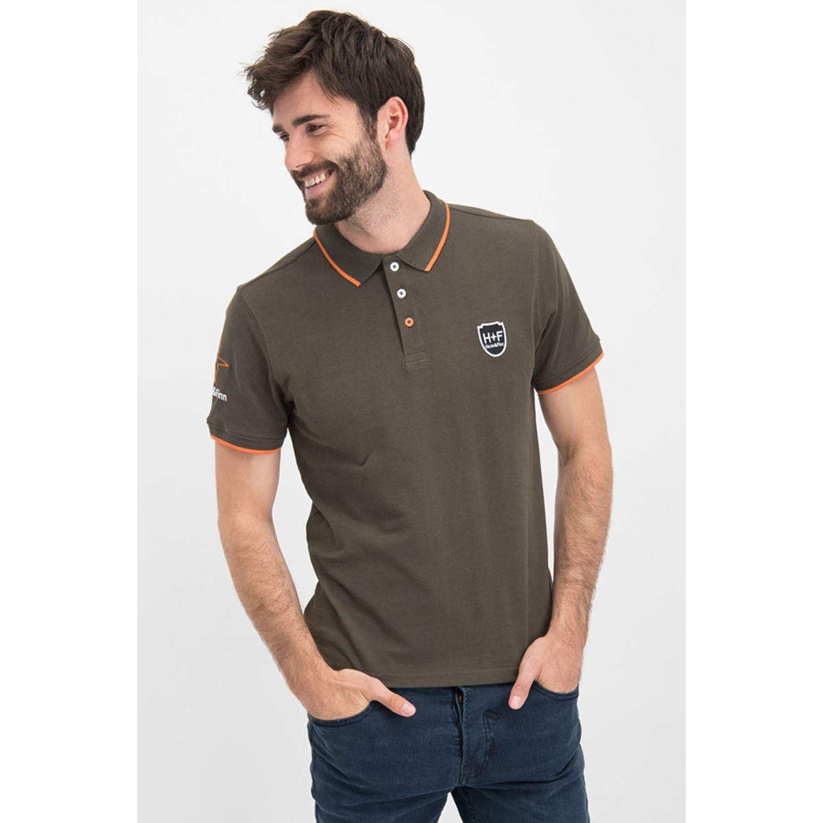 polo logo mu9 0350 haze & finn polo army green