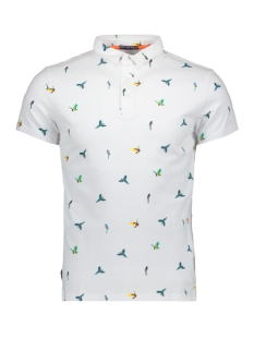 Superdry Polo CITY S S AOP JERSEY POLO M11019TQF1 OPTIC WHITE PARROT