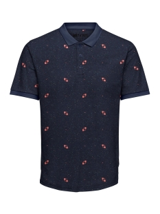 onsknight slim ss aop polo tee 22014787 only & sons polo dark navy