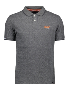 Superdry Polo ORANGE LABEL JERSEY SS POLO M1100007A VOLCANIC BLACK FEEDER