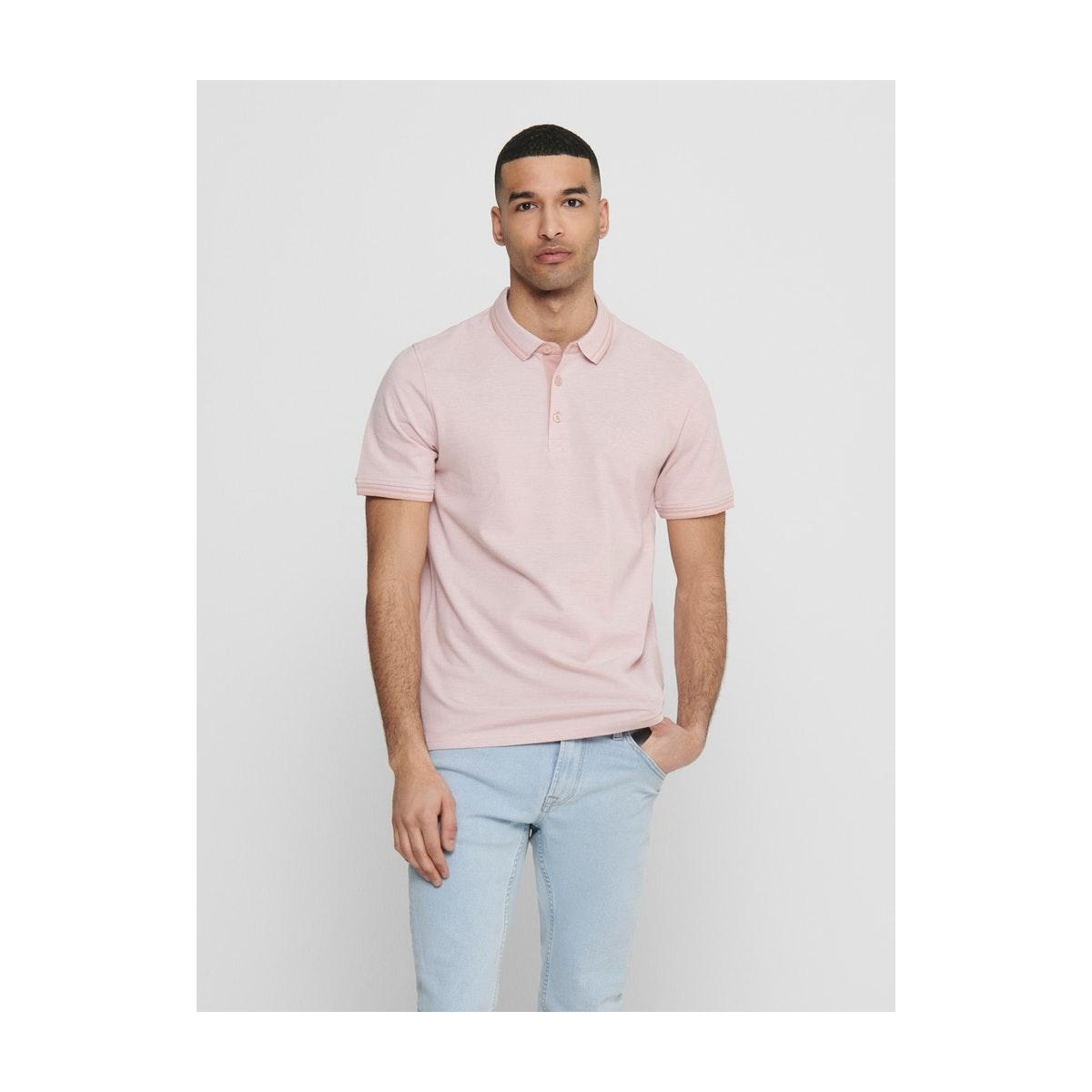 onsstan ss fitted polo tee 6560 noos 22011349 only & sons polo misty rose detail: solid