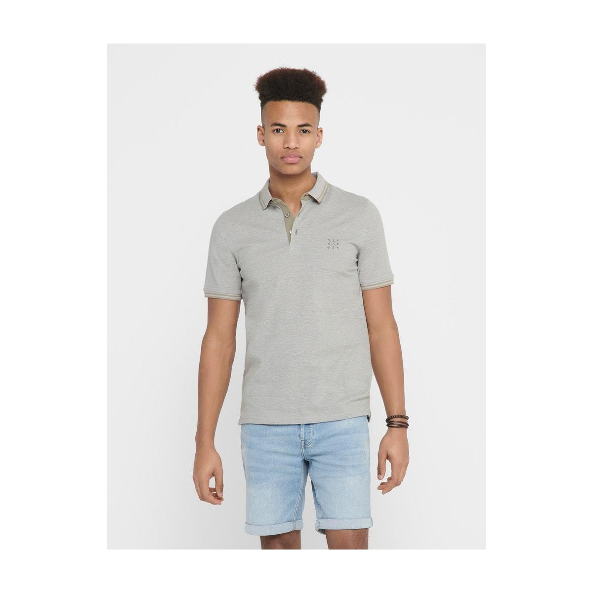 onsstan life ss fitted polotee(6560 22011349 only & sons polo seagrass/solid
