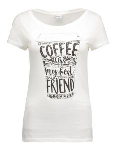 jdyuffe s/s print top jrs 15127866 jacqueline de yong t-shirt cloud dancer/coffee