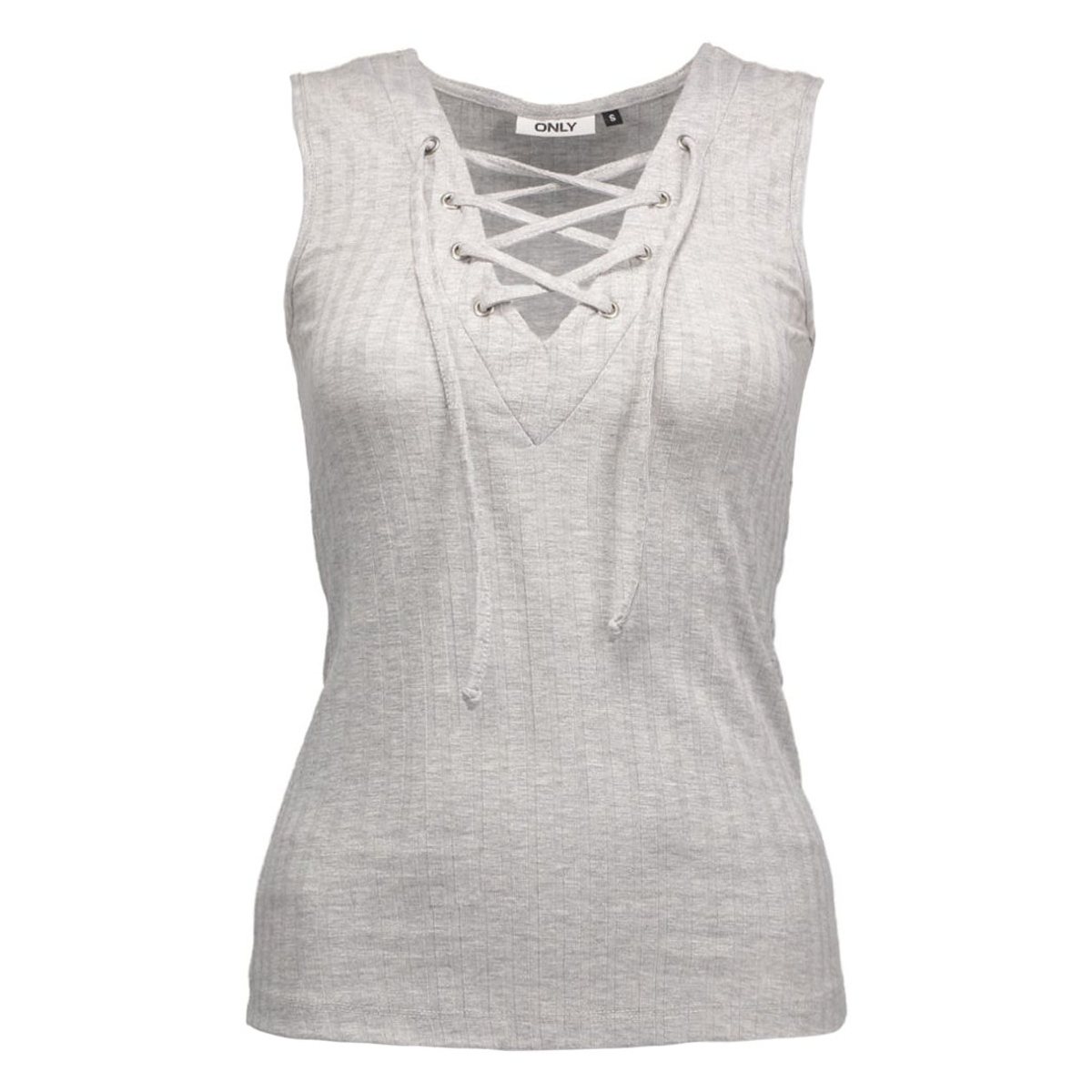 onlcool ripsi lace up s/l top jrs 15127860 only top light grey melange