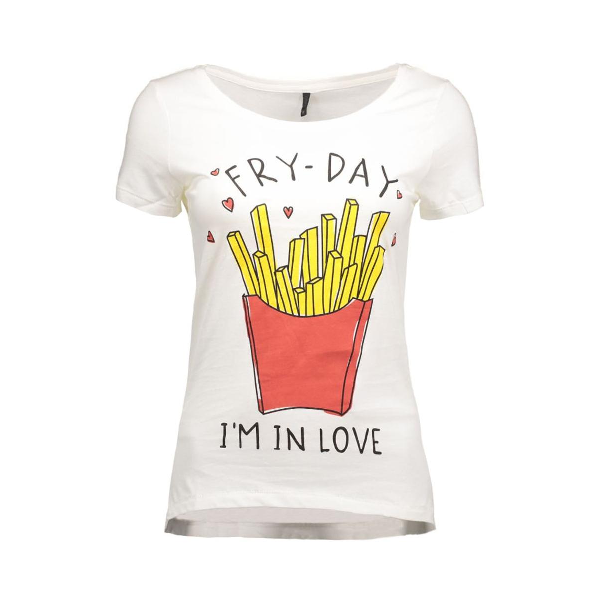 onlcotton s/s relax print top box e 15123689 only t-shirt cloud dancer/fries
