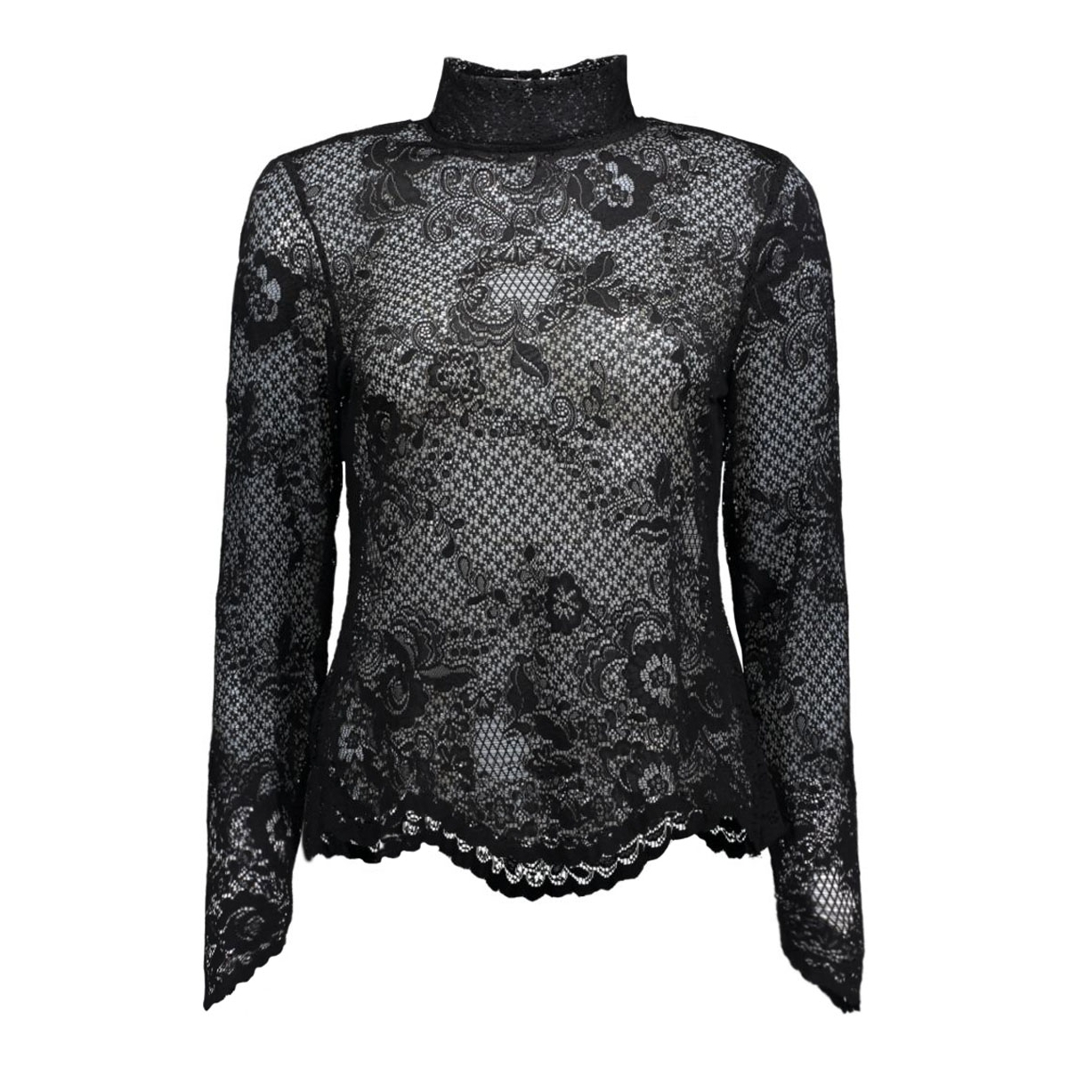 viloras l/s lace top-noos 14036709 vila t-shirt black