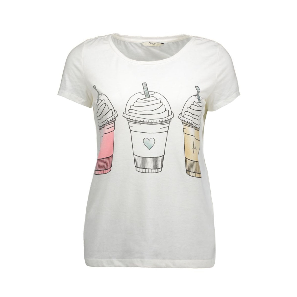 onltruly s/s straight print top box 15123896 only t-shirt cloud dancer/frappe
