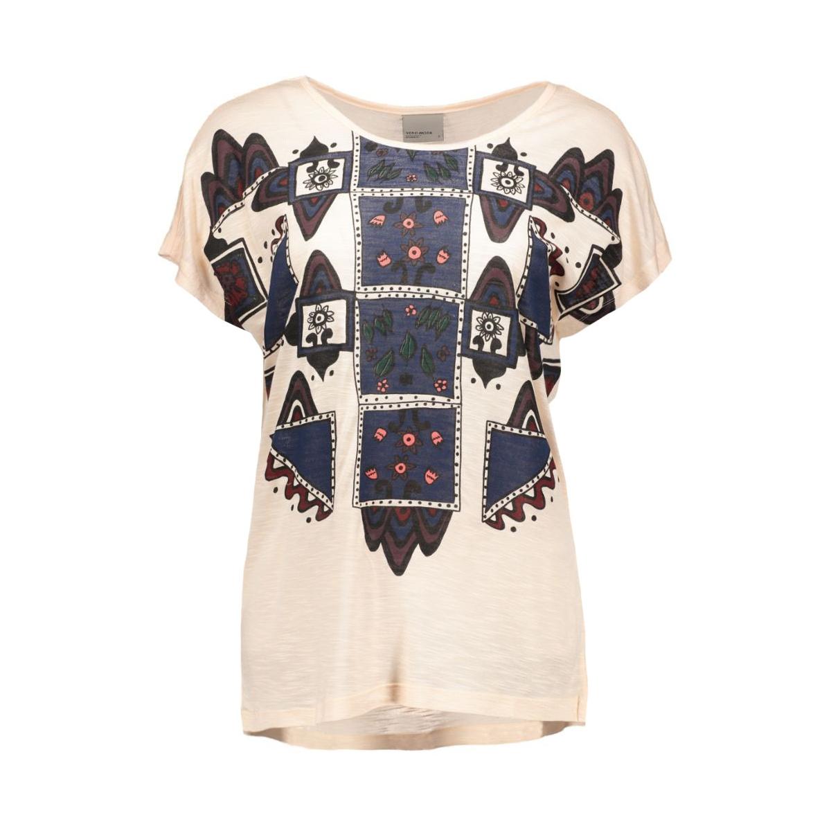 vmgeo luna s/s midi top d2-6 a  10162772 vero moda t-shirt cream tan/woodstock