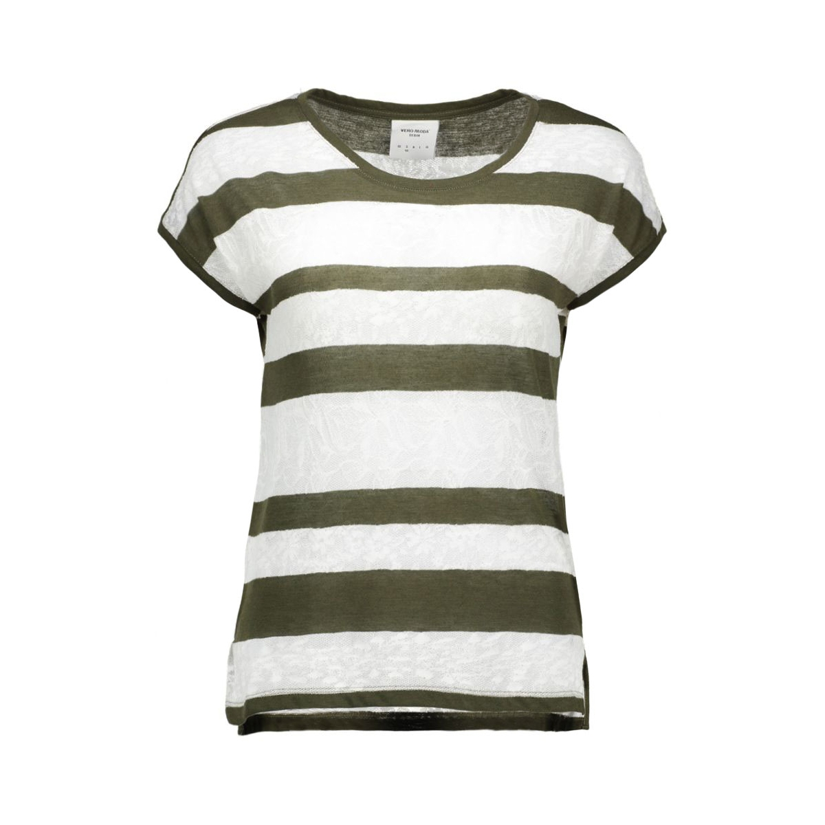 vmjudie ss wide top dnm  10158622 vero moda t-shirt ivy green/ in snow white