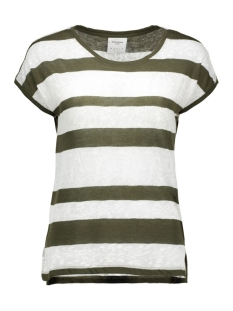 vmjudie ss wide top dnm  10158622 vero moda t-shirt ivy green/ in snow white