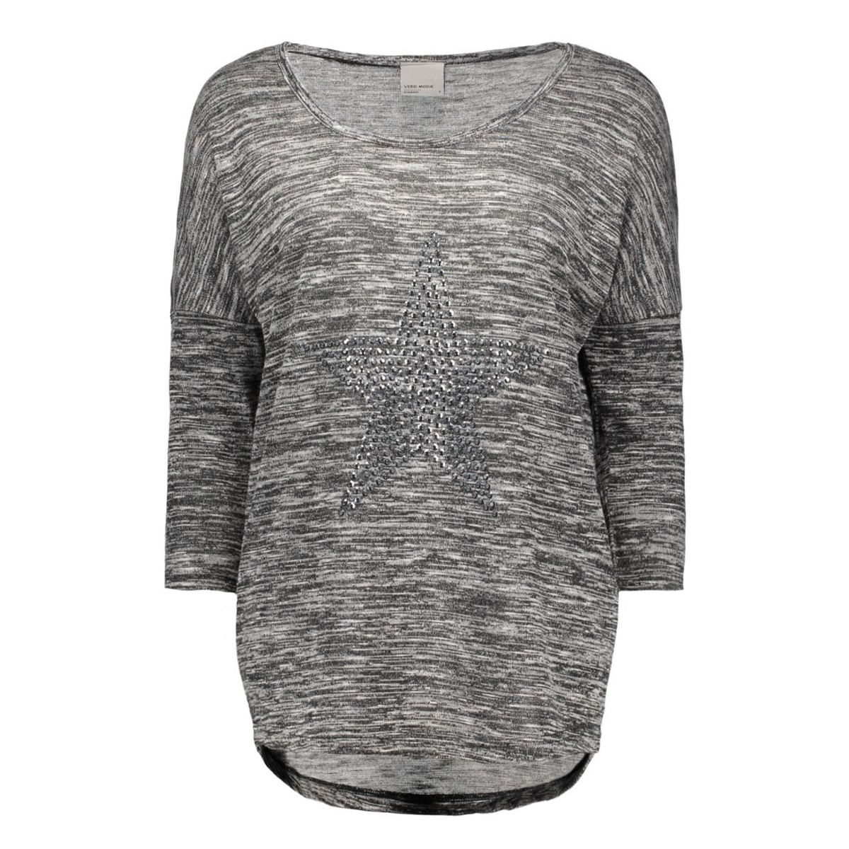 vmsabi star 3/4 top nfs 10162902 vero moda t-shirt dark grey melange