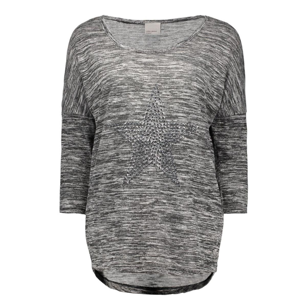 vmsabi star 3/4 top nfs 10162902 vero moda t-shirt dark grey melange