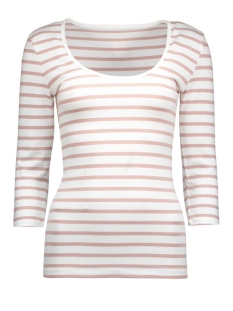 onllive love stripe 3/4 o-neck top 15113200 only t-shirt white/adobe rose
