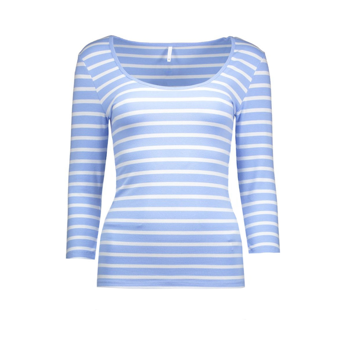 onllive love stripe 3/4 o-neck top 15113200 only t-shirt serenity/white