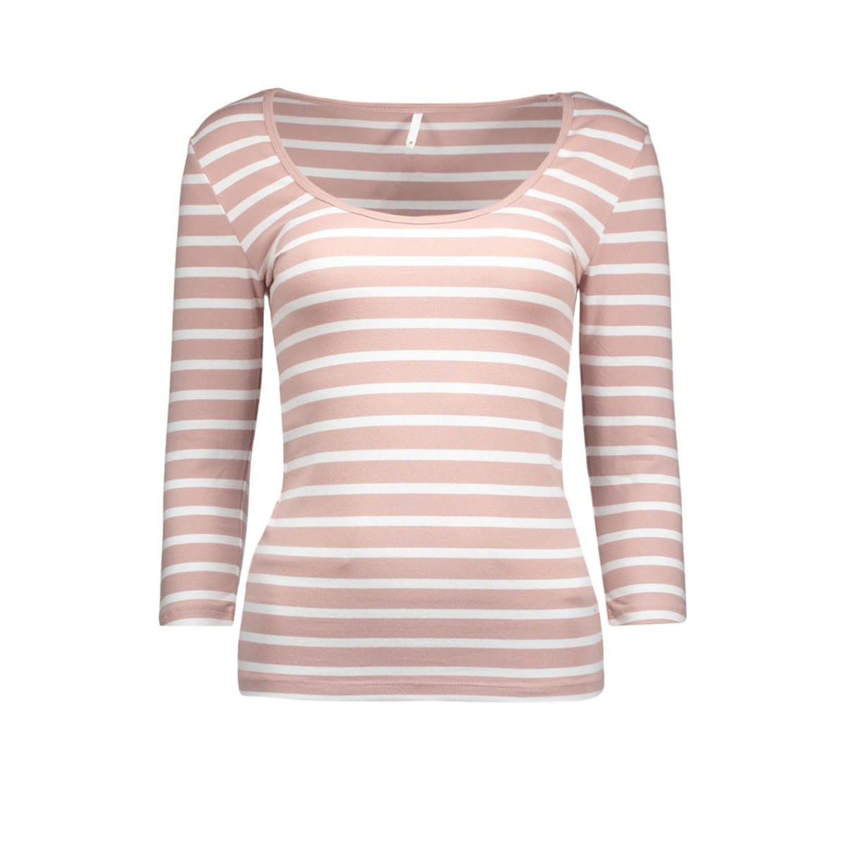 onllive love stripe 3/4 o-neck top 15113200 only t-shirt adobe rose/white