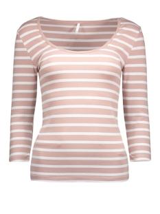 onllive love stripe 3/4 o-neck top 15113200 only t-shirt adobe rose/white
