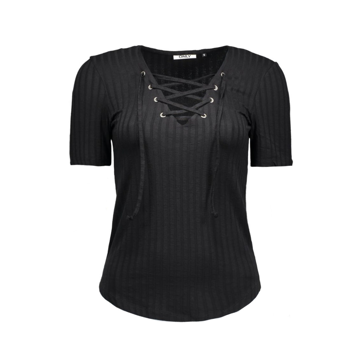 onlcool ripsi lace up 2/4 top noos 15127861 only t-shirt black