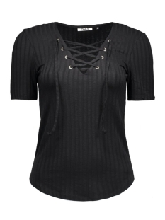 Only T-shirt onlCOOL RIPSI LACE UP 2/4 TOP NOOS 15127861 Black