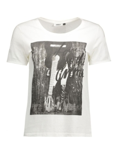 onlhappy s/s tee jrs 15119549 only t-shirt cloud dancer/guitar