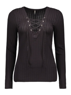 onlrikki l/s lace up top jrs 15126726 only t-shirt black