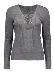 onlrikki l/s lace up top jrs 15126726 only t-shirt dark grey melange