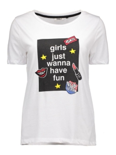 onlbetter one way s/s top box jrs 15130156 only t-shirt white/girls fun