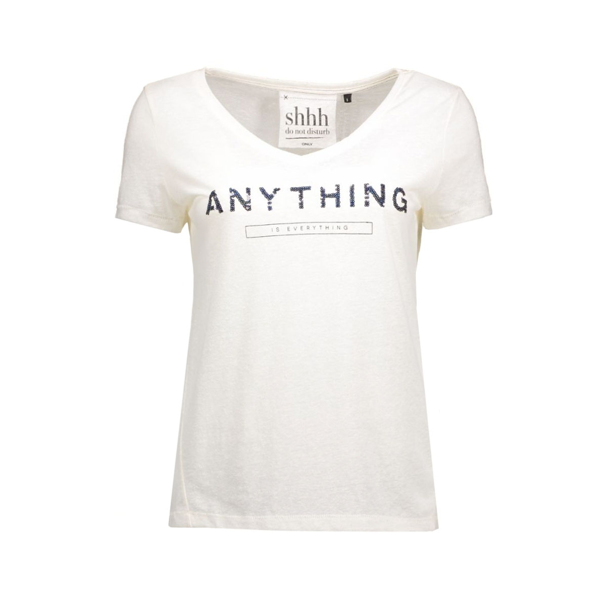 onlkimmi s/s anything/revoir top bo 15124409 only t-shirt cloud dancer/anything