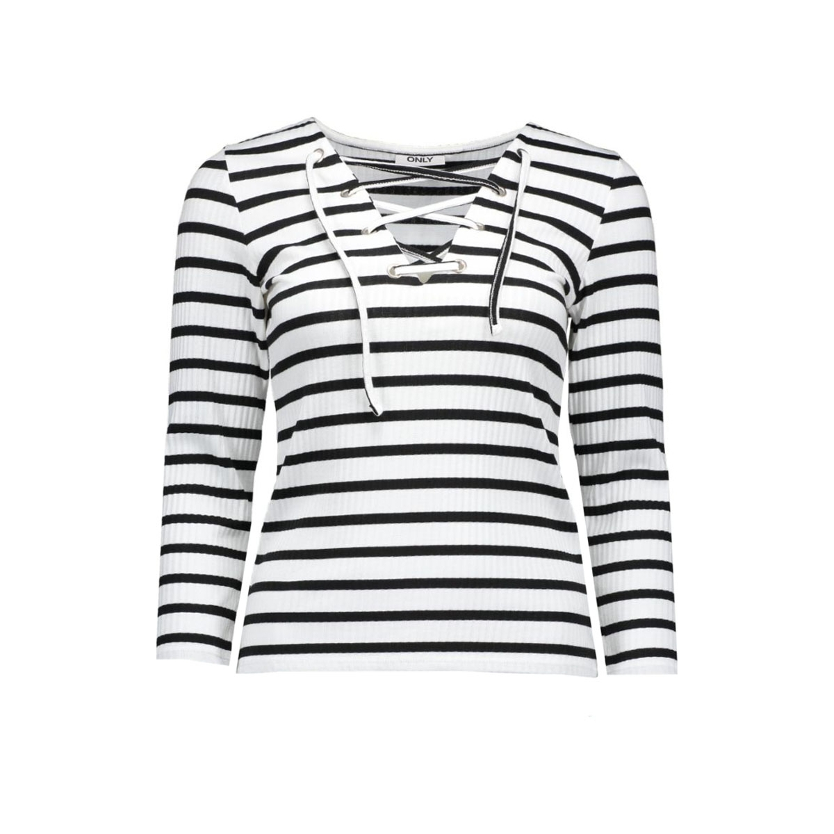 onlstreet stripe lace up 3/4 top jrs 15127638 only t-shirt cloud dancer