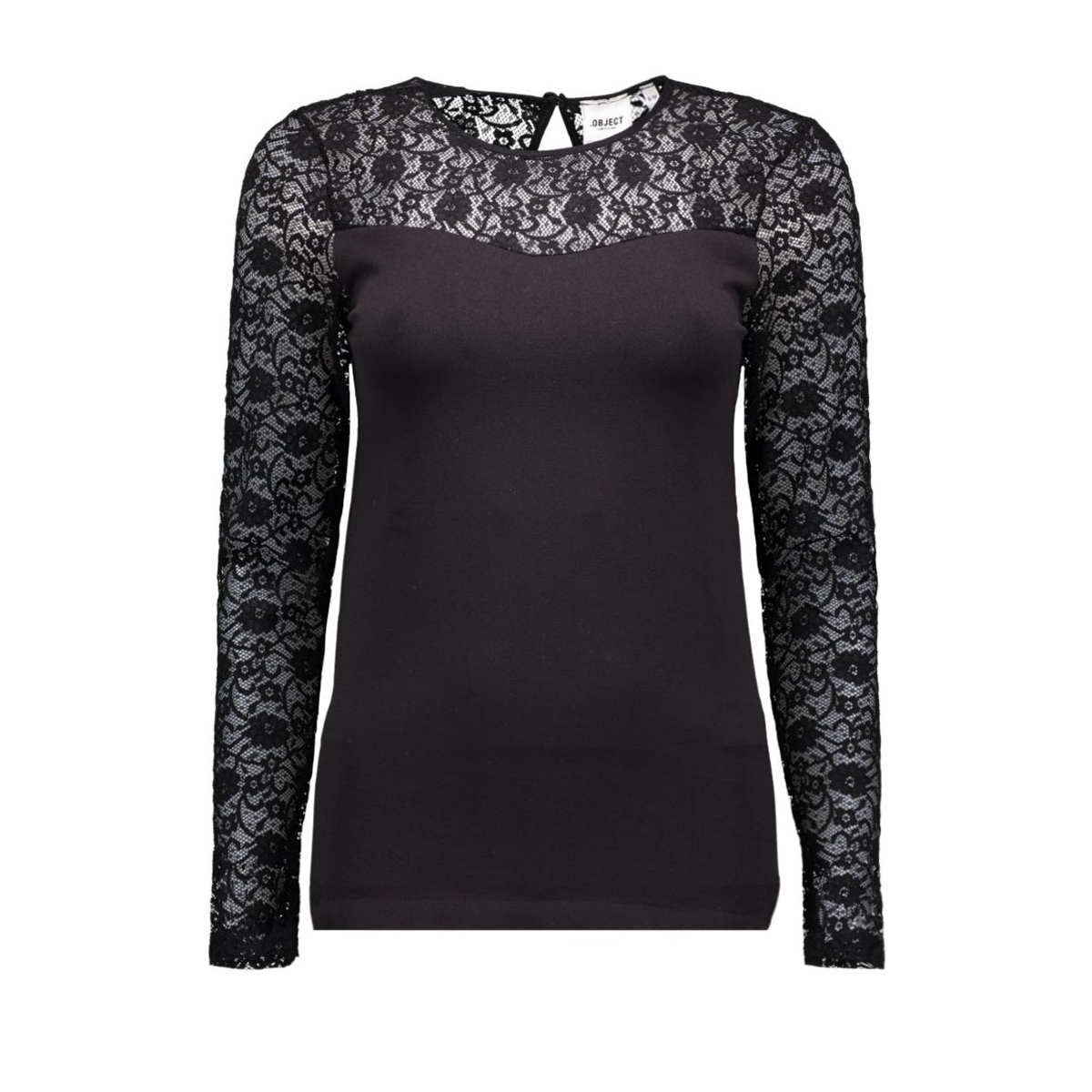 objlip lace l/s top noos 23021782 object t-shirt black