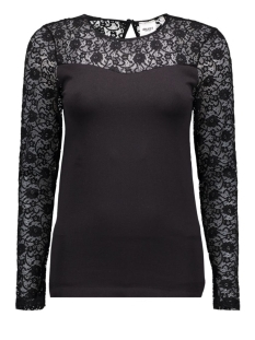Object T-shirt OBJLIP LACE L/S TOP NOOS 23021782 Black