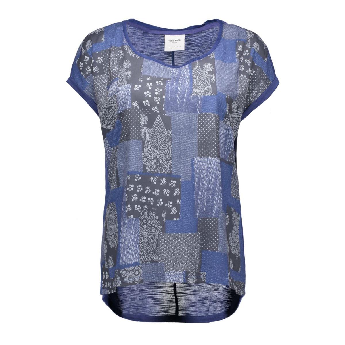 vmolivia jackie ss wide top box dnm 10160025 vero moda t-shirt twilight blue/lilli comb