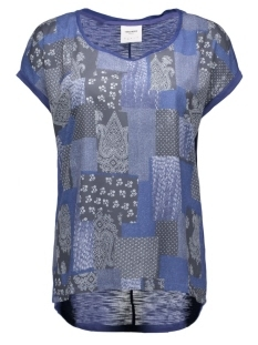 Vero Moda T-shirts VMOLIVIA JACKIE SS WIDE TOP BOX DNM 10160025 Twilight Blue/LILLI COMB