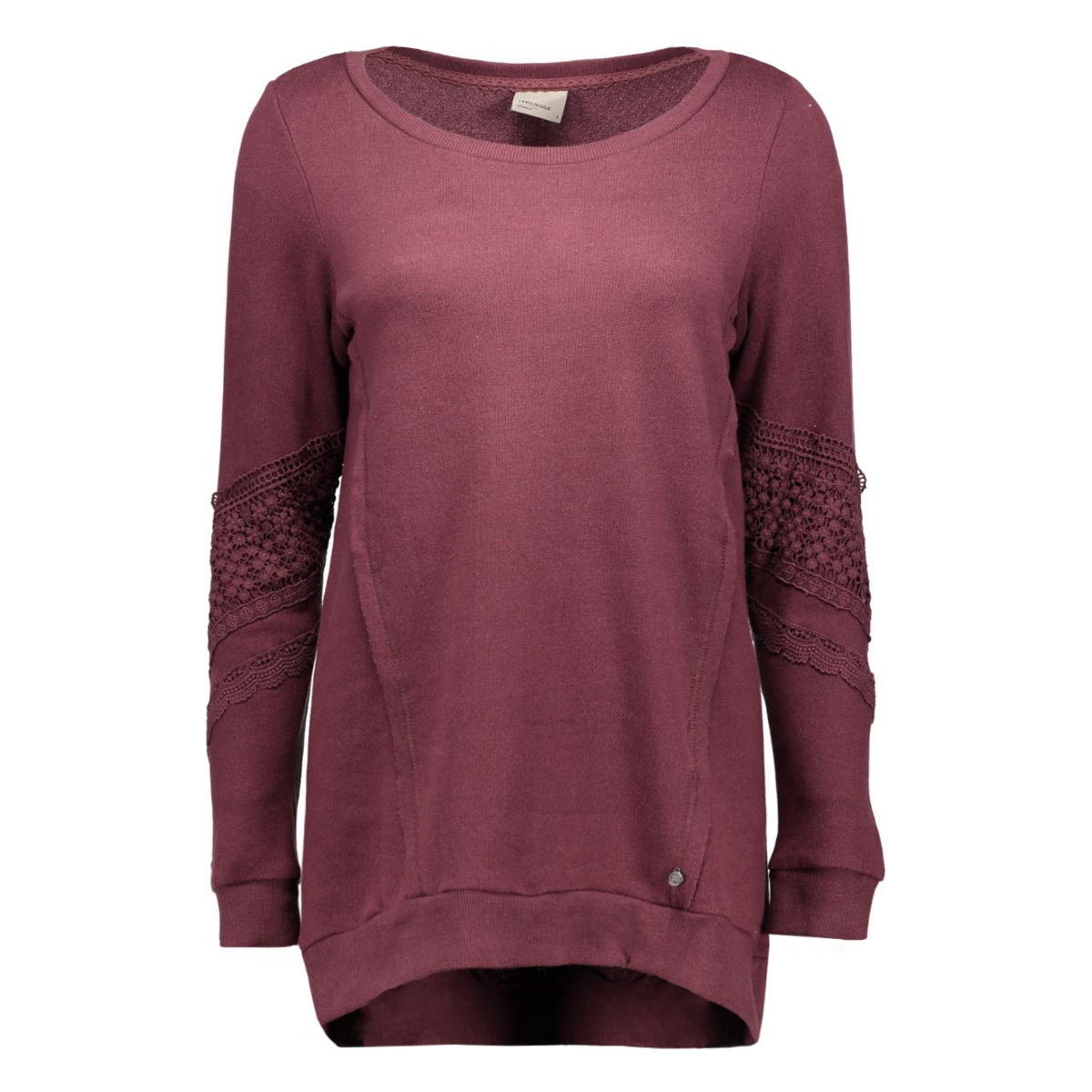 vmlisa lace l/s long top swt 10162288 vero moda sweater decadent chocol/melange