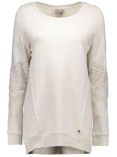 vmlisa lace l/s long top swt 10162288 vero moda sweater oatmeal/melange fa