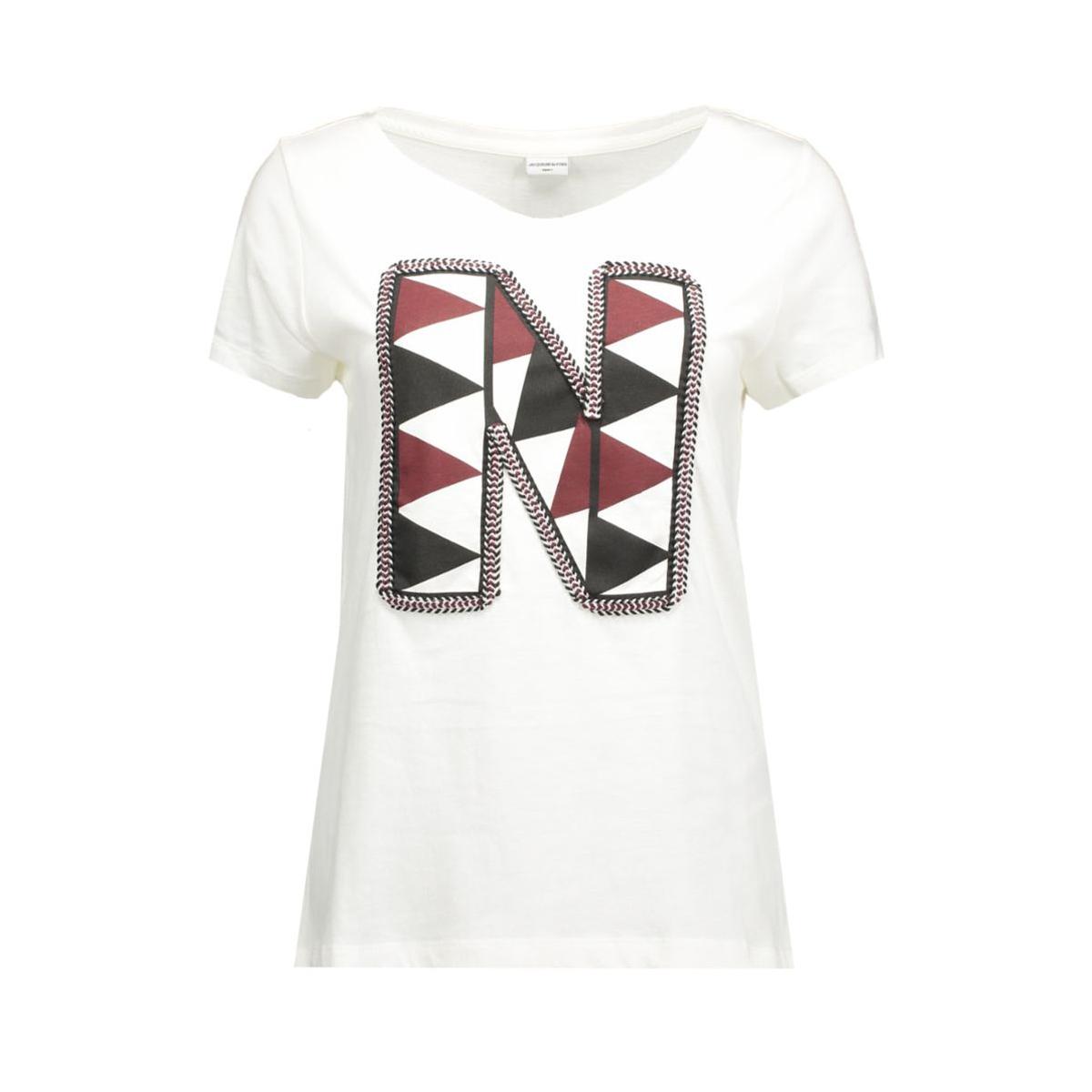 jdyclaire s/s print top jrs 15120276 jacqueline de yong t-shirt cloud dancer/n