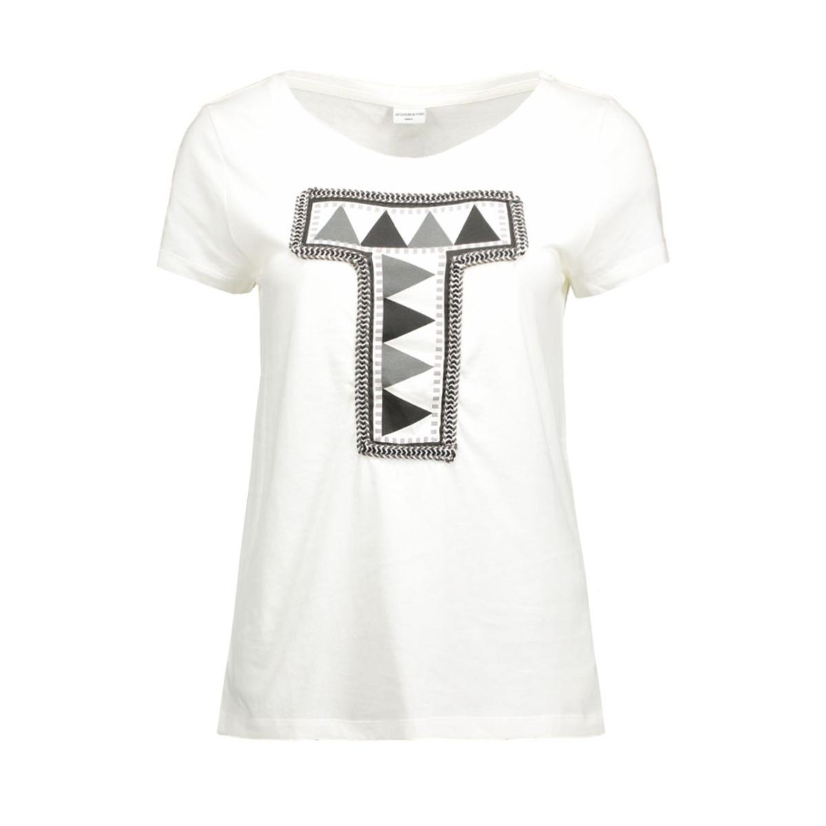 jdyclaire s/s print top jrs 15120276 jacqueline de yong t-shirt cloud dancer/t