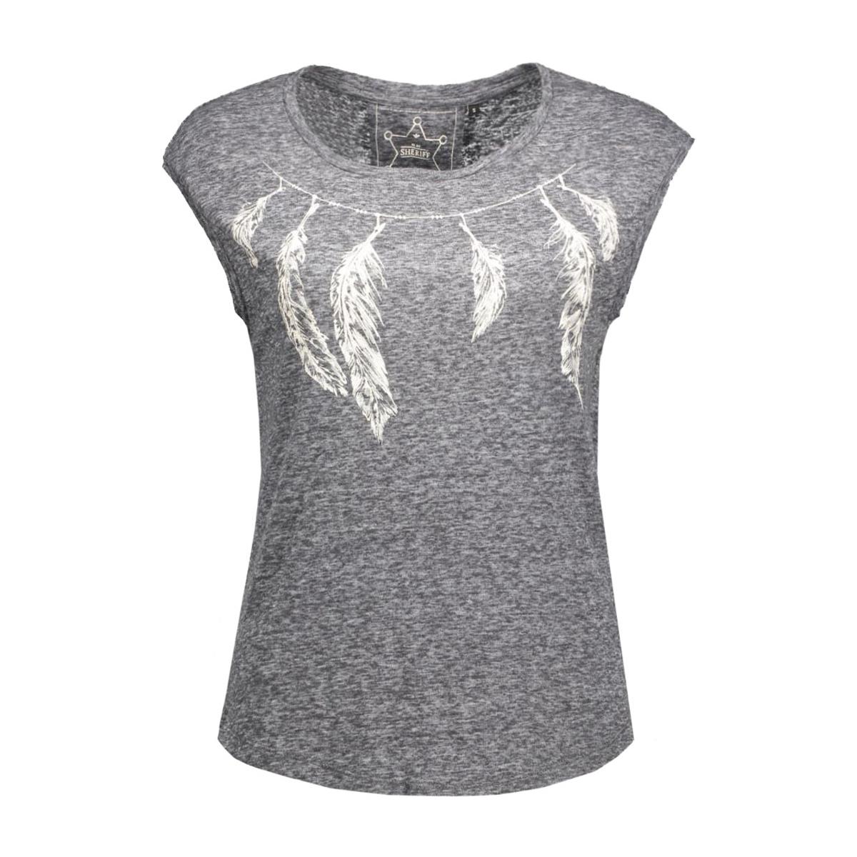 onlmadeline s/s feather/necklace bo 15124413 only t-shirt dark grey melange