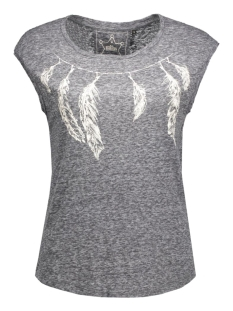 onlmadeline s/s feather/necklace bo 15124413 only t-shirt dark grey melange