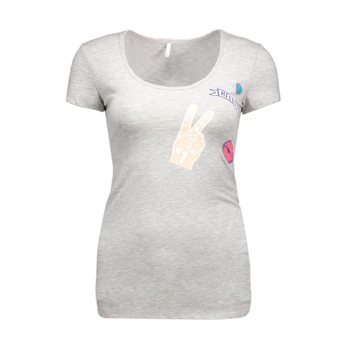 live love badge long o-neck ss top 15133808 only t-shirt light grey melange