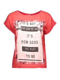 vmsia s/s top box jrs 10162236 vero moda t-shirt scarlet/text its n