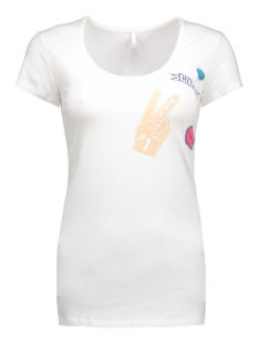 LIVE LOVE BADGE LONG O-NECK SS TOP 15133808 White
