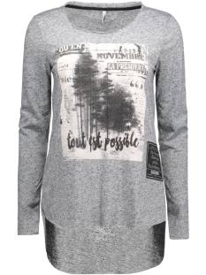 onlclara l/s straight top box ess 15129351 only t-shirt dark grey melange